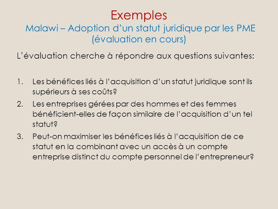 Lévaluation cherche à répondre aux questions suivantes: 1.Les bénéfices liés à lacquisition dun statut juridique sont ils supérieurs à ses coûts.