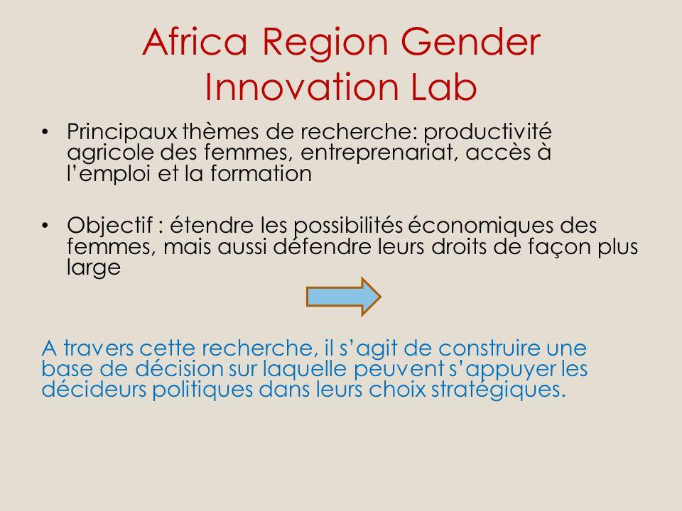 Africa Region Gender Innovation Lab Principaux thèmes de recherche: productivité agricole des femmes, entreprenariat, accès à lemploi et la formation Objectif : étendre les possibilités économiques des femmes, mais aussi défendre leurs droits de façon plus large A travers cette recherche, il sagit de construire une base de décision sur laquelle peuvent sappuyer les décideurs politiques dans leurs choix stratégiques.