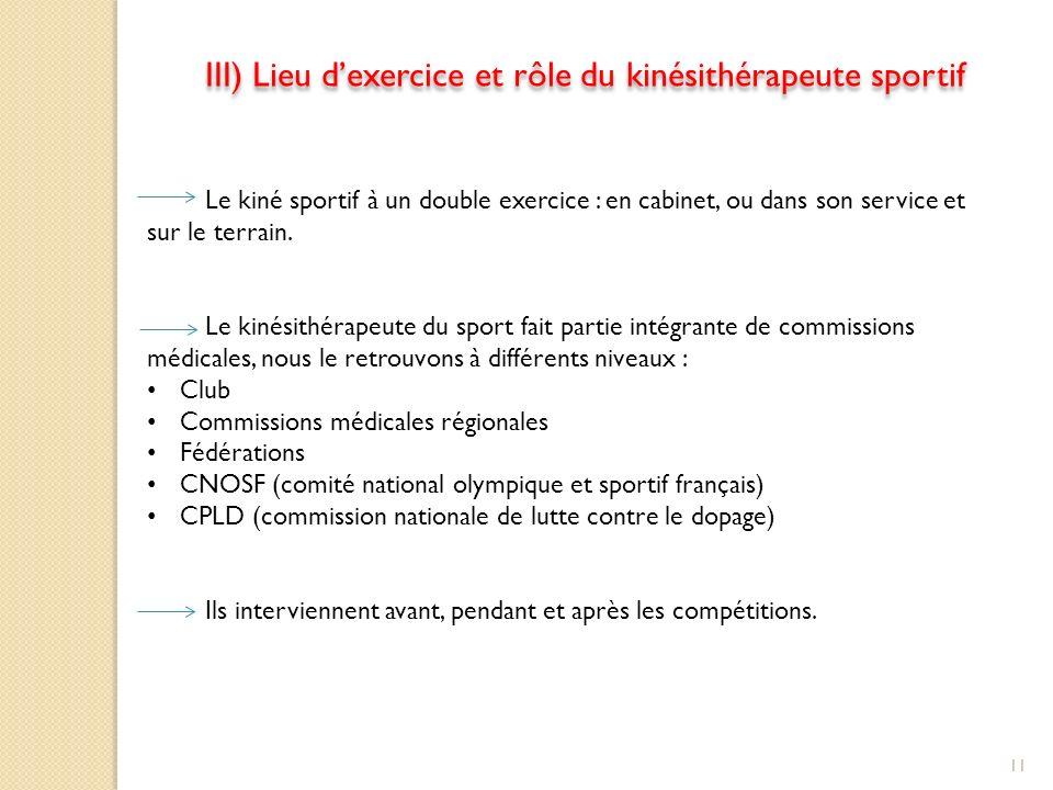 III) Lieu dexercice et rôle du kinésithérapeute sportif Le kiné sportif à un double exercice : en cabinet, ou dans son service et sur le terrain.