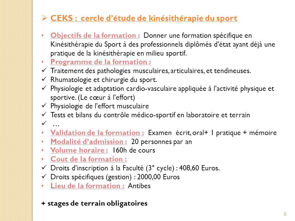 CEKS : cercle détude de kinésithérapie du sport Objectifs de la formation : Donner une formation spécifique en Kinésithérapie du Sport à des professionnels diplômés détat ayant déjà une pratique de la kinésithérapie en milieu sportif.