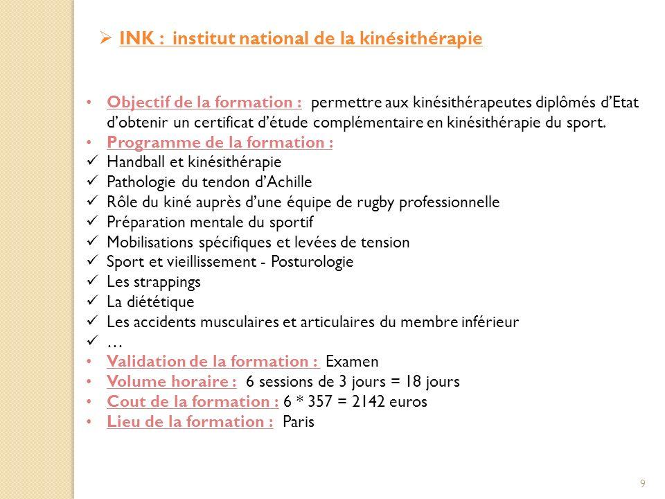 INK : institut national de la kinésithérapie Objectif de la formation : permettre aux kinésithérapeutes diplômés dEtat dobtenir un certificat détude complémentaire en kinésithérapie du sport.