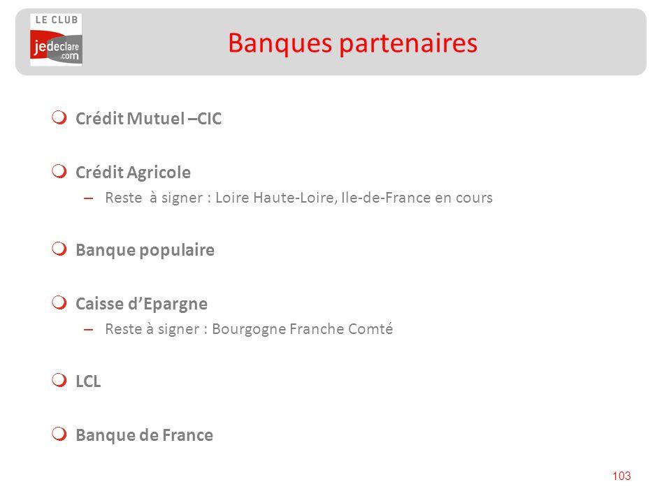 103 Crédit Mutuel –CIC Crédit Agricole – Reste à signer : Loire Haute-Loire, Ile-de-France en cours Banque populaire Caisse dEpargne – Reste à signer