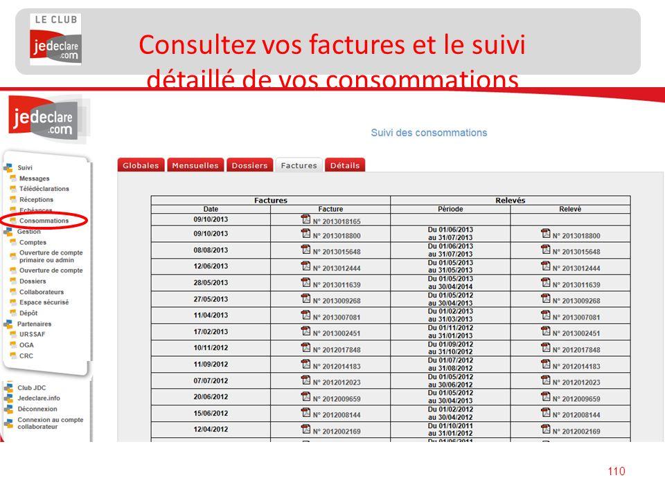110 Consultez vos factures et le suivi détaillé de vos consommations