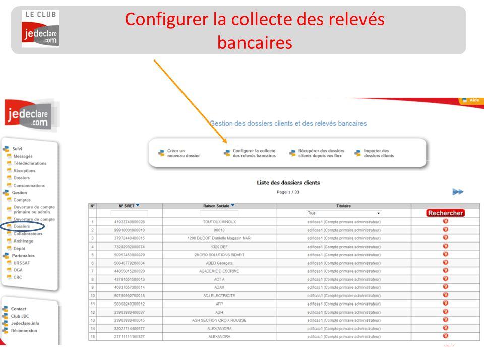 121 Configurer la collecte des relevés bancaires