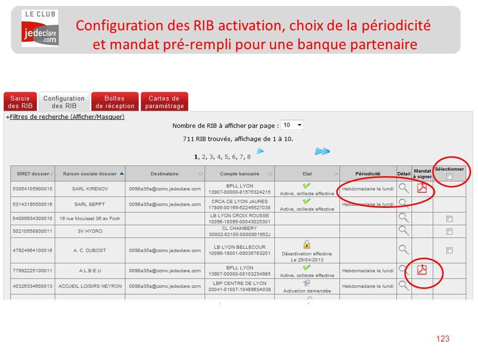 123 Configuration des RIB activation, choix de la périodicité et mandat pré-rempli pour une banque partenaire