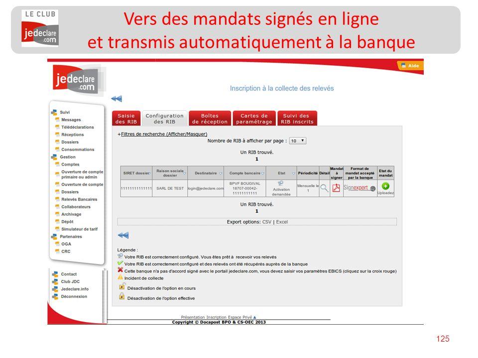 125 Vers des mandats signés en ligne et transmis automatiquement à la banque