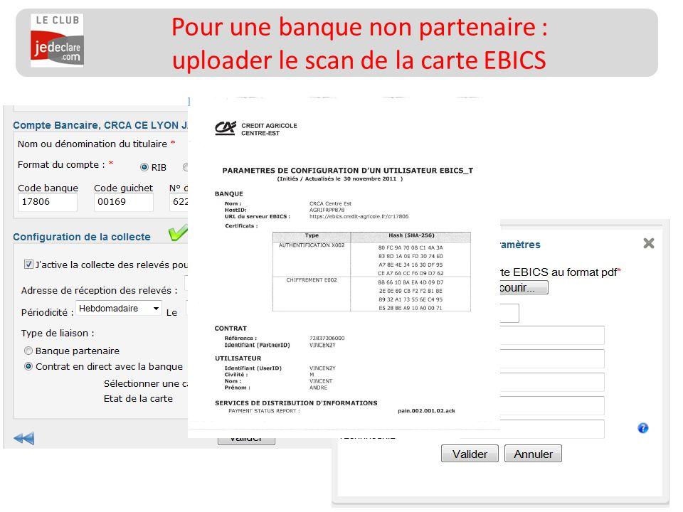 128 Pour une banque non partenaire : uploader le scan de la carte EBICS