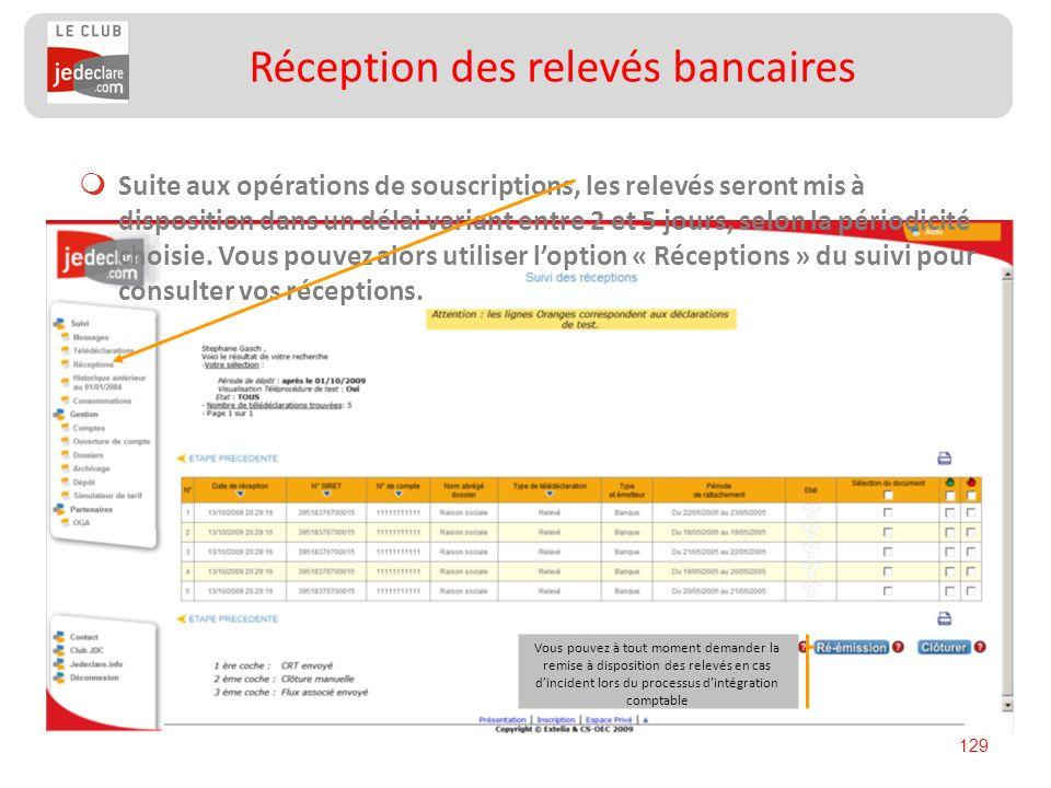 129 Suite aux opérations de souscriptions, les relevés seront mis à disposition dans un délai variant entre 2 et 5 jours, selon la périodicité choisie