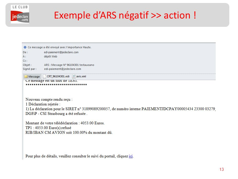 13 Exemple dARS négatif >> action !