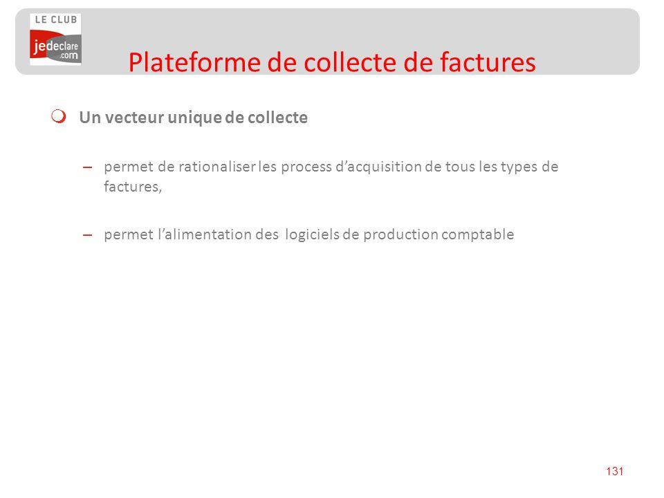 131 Un vecteur unique de collecte – permet de rationaliser les process dacquisition de tous les types de factures, – permet lalimentation des logiciel