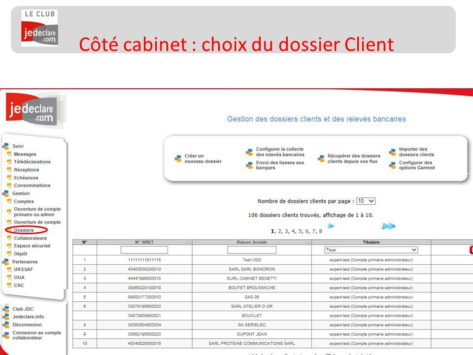 137 Côté cabinet : choix du dossier Client