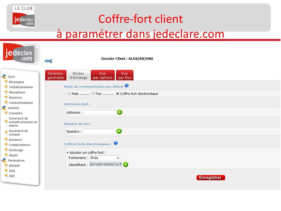 148 Coffre-fort client à paramétrer dans jedeclare.com