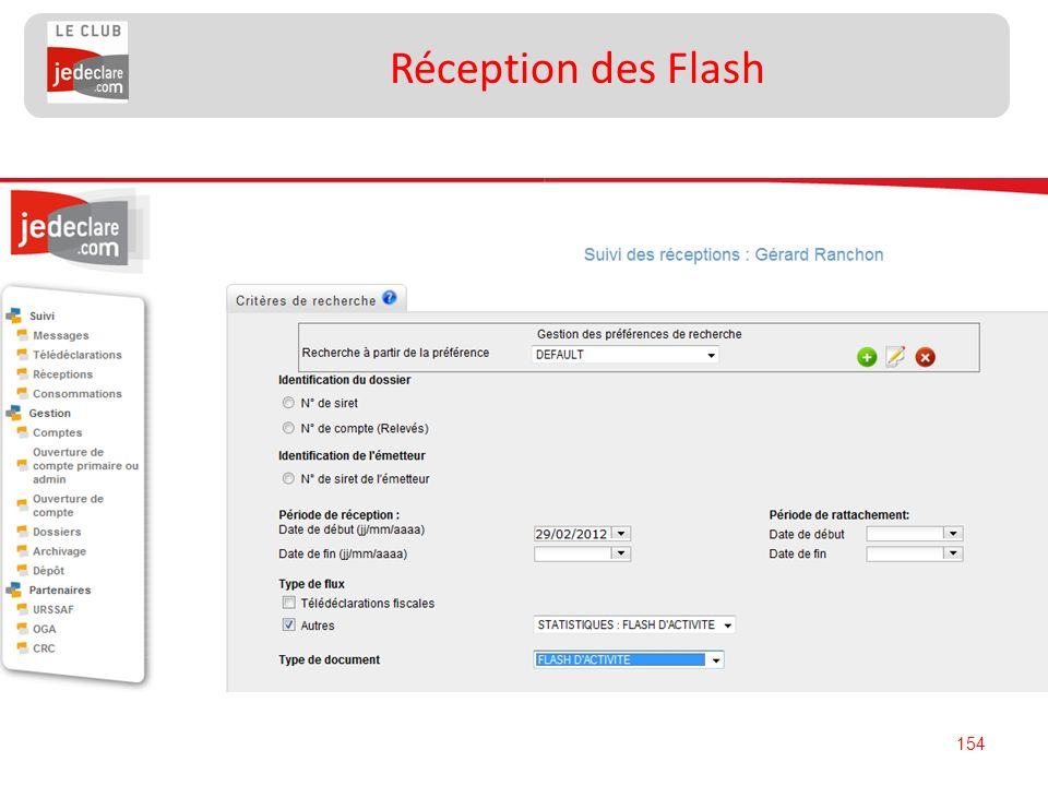 154 Réception des Flash