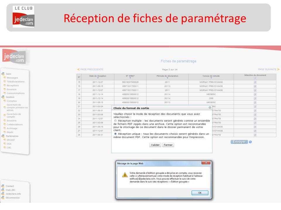 27 Réception de fiches de paramétrage