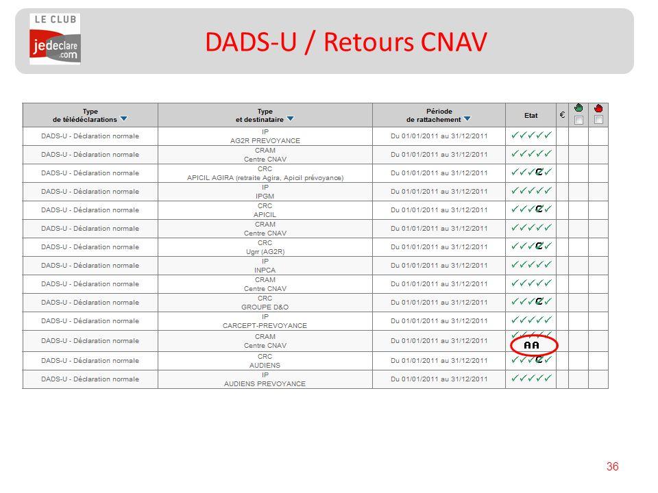 36 DADS-U / Retours CNAV