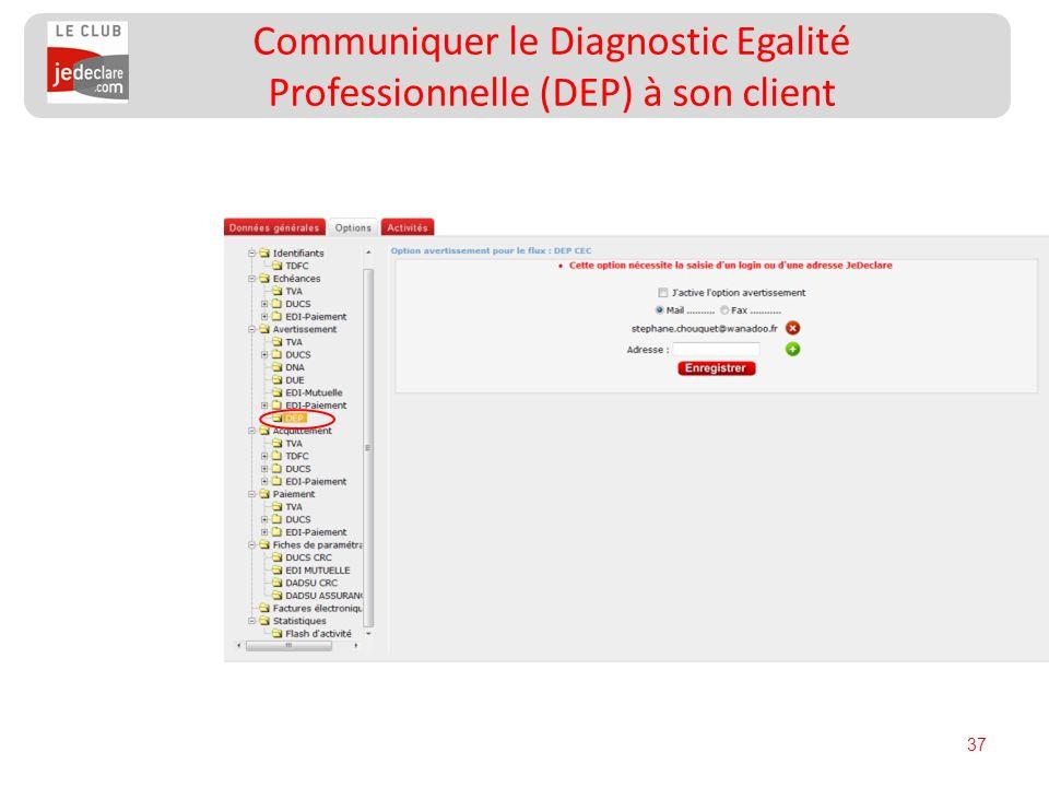 37 Communiquer le Diagnostic Egalité Professionnelle (DEP) à son client
