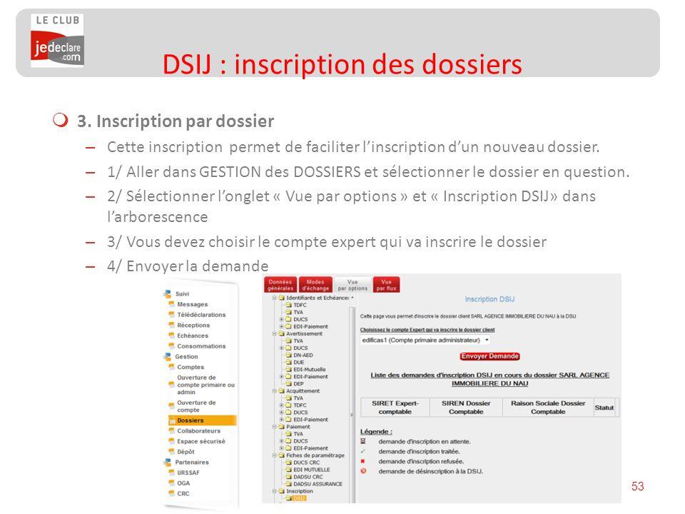 53 3. Inscription par dossier – Cette inscription permet de faciliter linscription dun nouveau dossier. – 1/ Aller dans GESTION des DOSSIERS et sélect