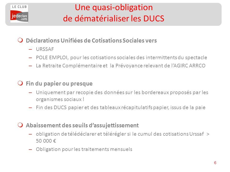 6 Déclarations Unifiées de Cotisations Sociales vers – URSSAF – POLE EMPLOI, pour les cotisations sociales des intermittents du spectacle – La Retrait