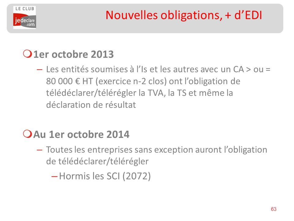 63 Nouvelles obligations, + dEDI 1er octobre 2013 – Les entités soumises à lIs et les autres avec un CA > ou = 80 000 HT (exercice n-2 clos) ont lobli