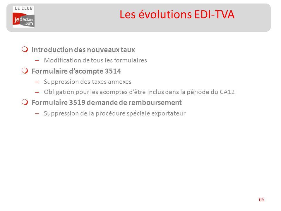 65 Les évolutions EDI-TVA Introduction des nouveaux taux – Modification de tous les formulaires Formulaire dacompte 3514 – Suppression des taxes annex