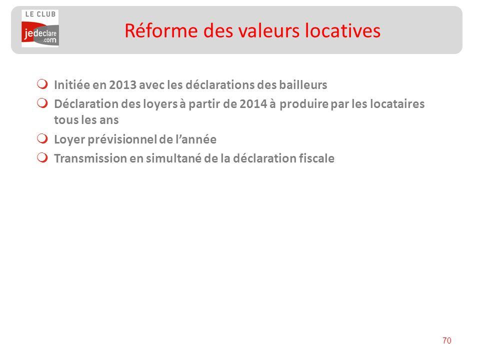 70 Initiée en 2013 avec les déclarations des bailleurs Déclaration des loyers à partir de 2014 à produire par les locataires tous les ans Loyer prévis