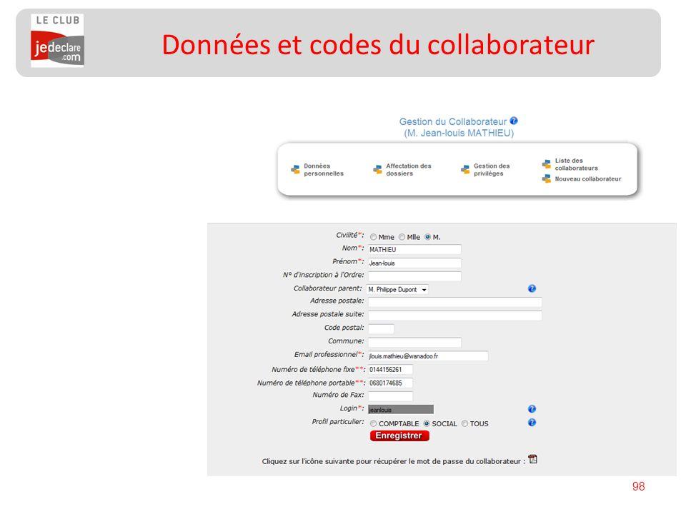 98 Données et codes du collaborateur