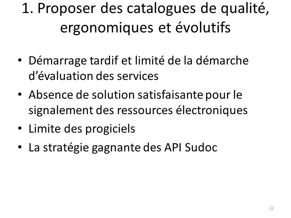 1. Proposer des catalogues de qualité, ergonomiques et évolutifs Démarrage tardif et limité de la démarche dévaluation des services Absence de solutio