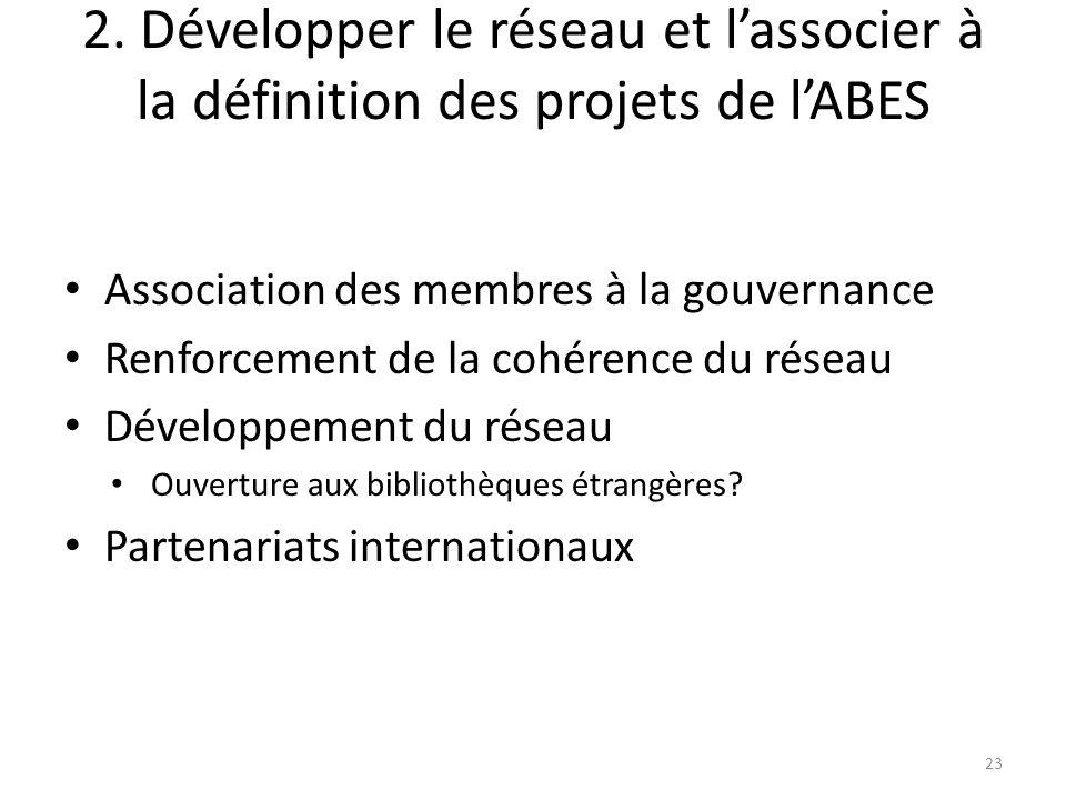 2. Développer le réseau et lassocier à la définition des projets de lABES Association des membres à la gouvernance Renforcement de la cohérence du rés