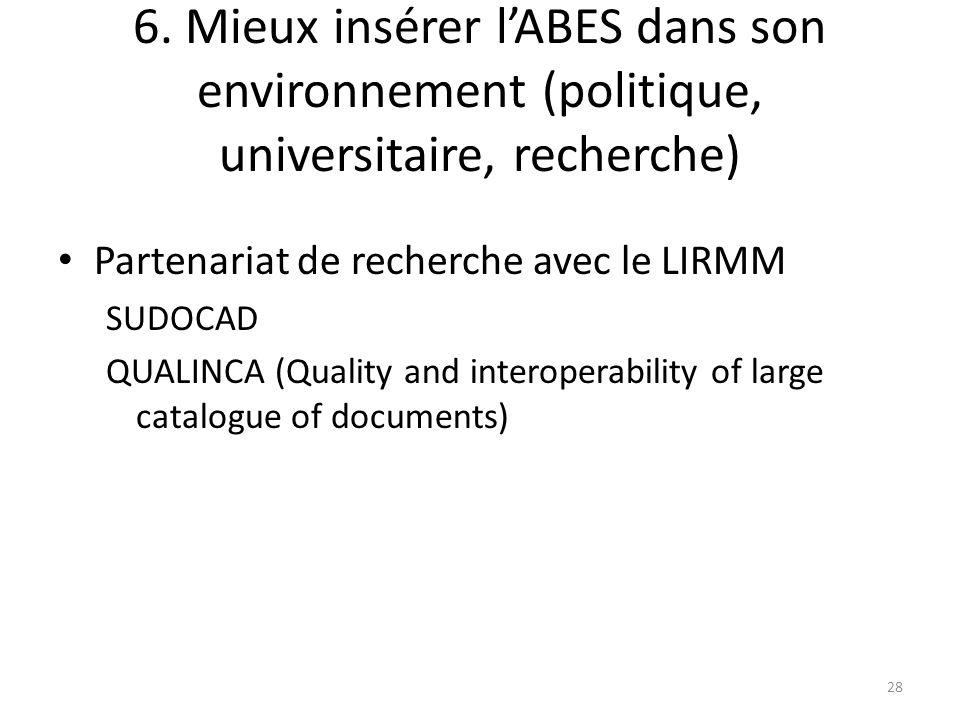 6. Mieux insérer lABES dans son environnement (politique, universitaire, recherche) Partenariat de recherche avec le LIRMM SUDOCAD QUALINCA (Quality a