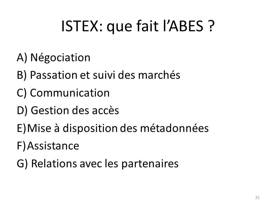 ISTEX: que fait lABES ? A) Négociation B) Passation et suivi des marchés C) Communication D) Gestion des accès E)Mise à disposition des métadonnées F)