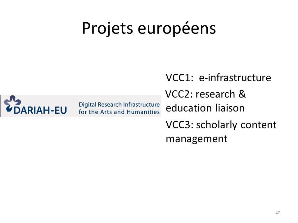 Projets européens VCC1: e-infrastructure VCC2: research & education liaison VCC3: scholarly content management 40