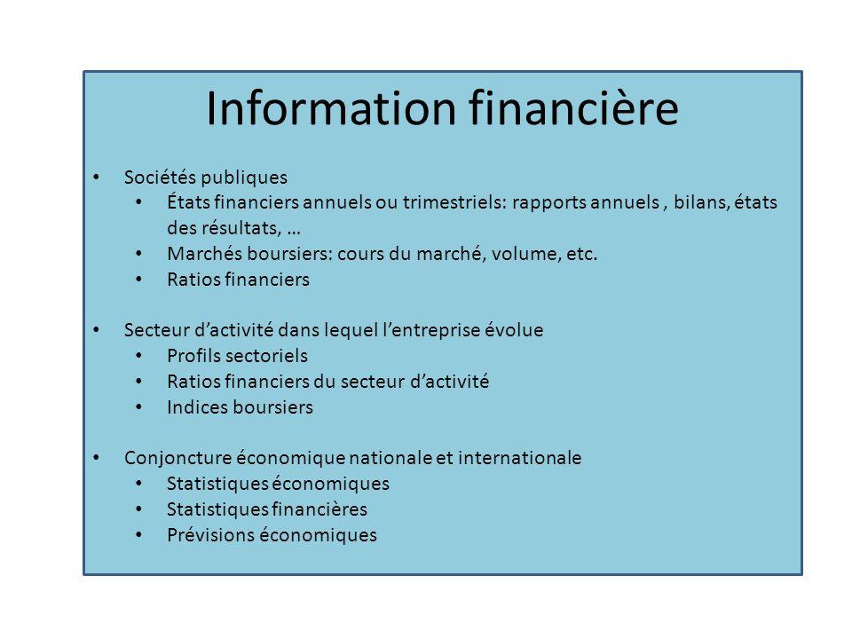Information financière Sociétés publiques États financiers annuels ou trimestriels: rapports annuels, bilans, états des résultats, … Marchés boursiers: cours du marché, volume, etc.