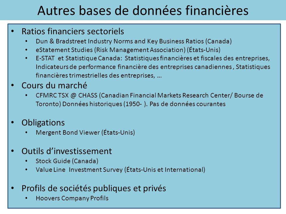 Ratios financiers sectoriels Dun & Bradstreet Industry Norms and Key Business Ratios (Canada) eStatement Studies (Risk Management Association) (États-
