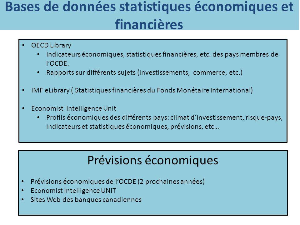 Bases de données statistiques économiques et financières OECD Library Indicateurs économiques, statistiques financières, etc.