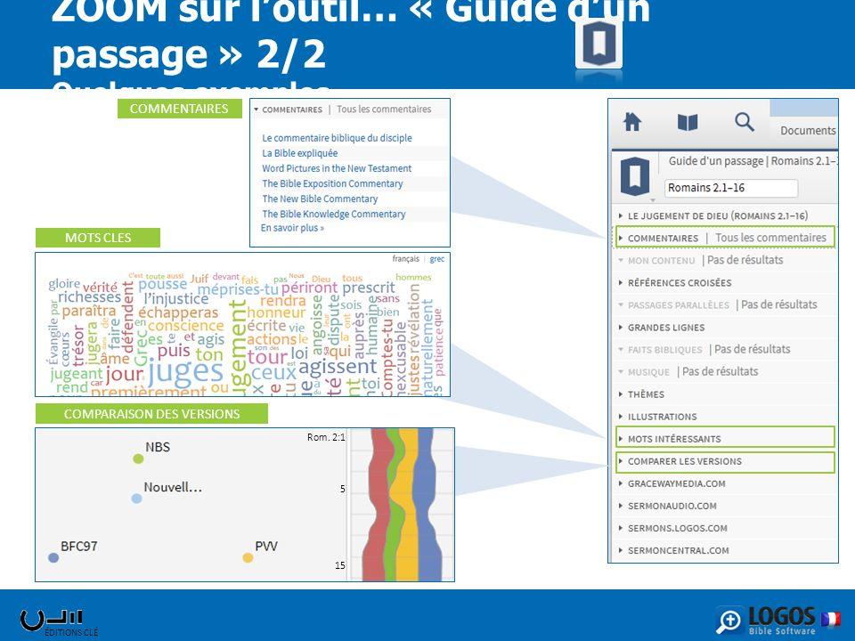 ÉDITIONS CLÉ ZOOM sur loutil… « Guide dun passage » 2/2 Quelques exemples Rom. 2:1 5 15 MOTS CLES COMPARAISON DES VERSIONS COMMENTAIRES