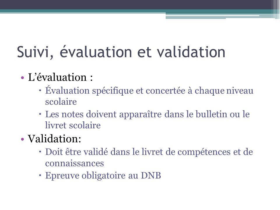 Suivi, évaluation et validation Lévaluation : Évaluation spécifique et concertée à chaque niveau scolaire Les notes doivent apparaître dans le bulleti