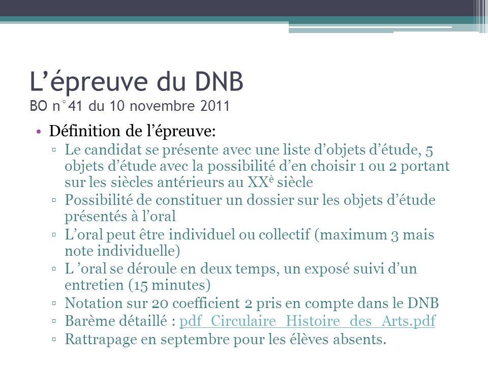Lépreuve du DNB BO n°41 du 10 novembre 2011 Définition de lépreuve: Le candidat se présente avec une liste dobjets détude, 5 objets détude avec la pos
