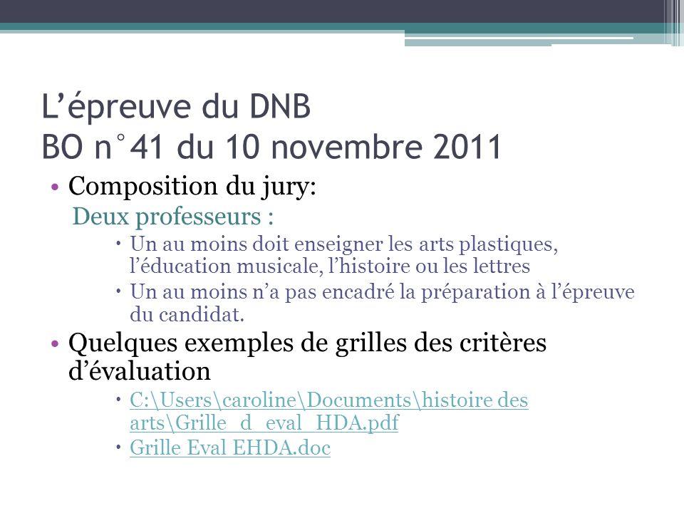 Lépreuve du DNB BO n°41 du 10 novembre 2011 Composition du jury: Deux professeurs : Un au moins doit enseigner les arts plastiques, léducation musical