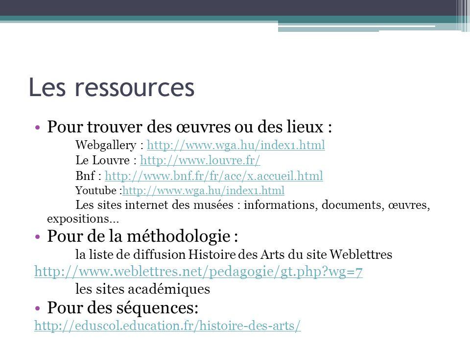Les ressources Pour trouver des œuvres ou des lieux : Webgallery : http://www.wga.hu/index1.htmlhttp://www.wga.hu/index1.html Le Louvre : http://www.l