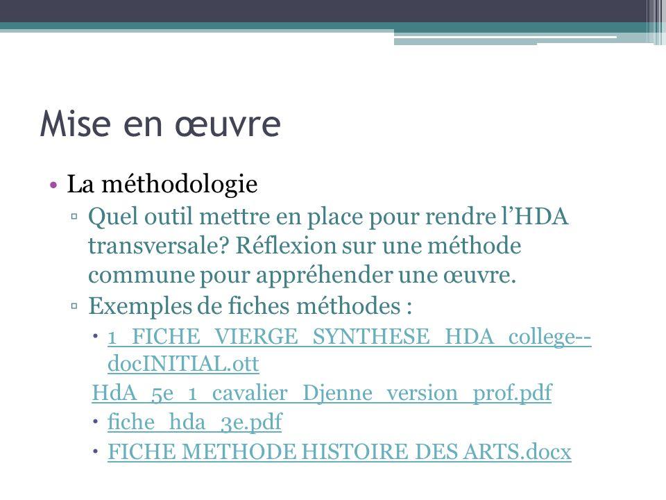 Mise en œuvre La méthodologie Quel outil mettre en place pour rendre lHDA transversale? Réflexion sur une méthode commune pour appréhender une œuvre.