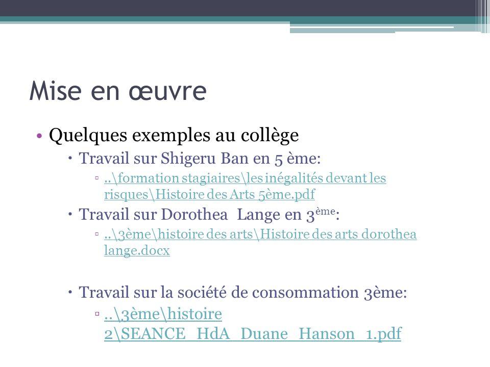 Mise en œuvre Quelques exemples au collège Travail sur Shigeru Ban en 5 ème:..\formation stagiaires\les inégalités devant les risques\Histoire des Art