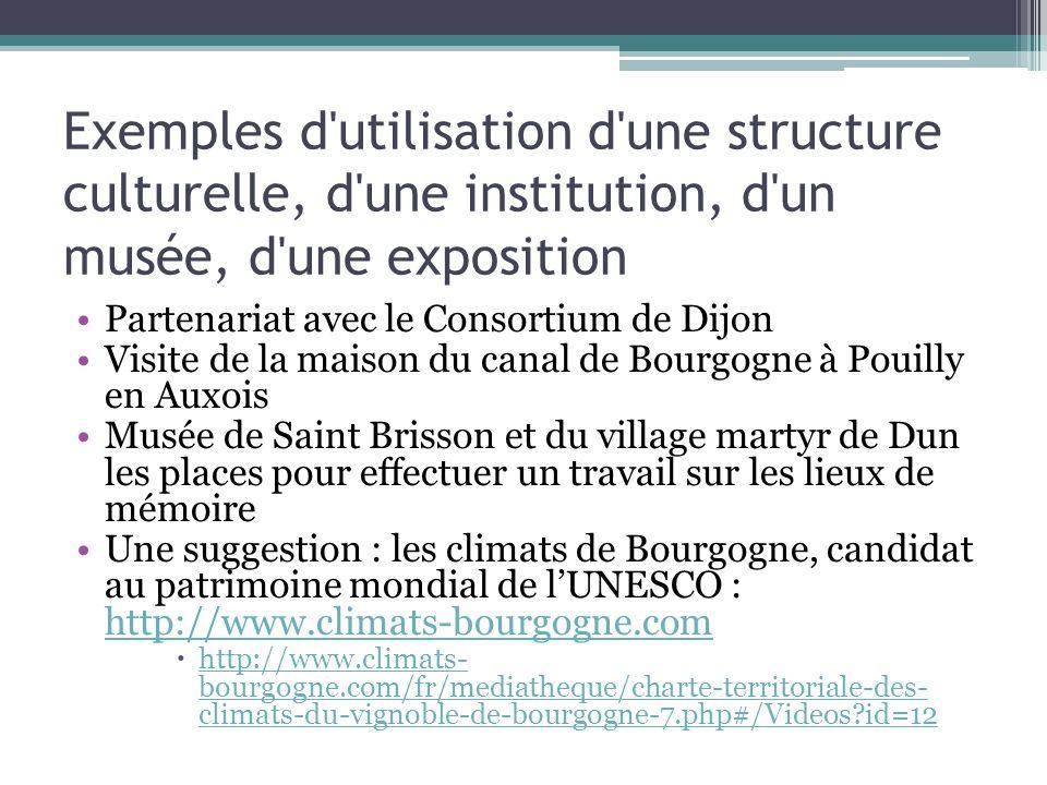 Exemples d'utilisation d'une structure culturelle, d'une institution, d'un musée, d'une exposition Partenariat avec le Consortium de Dijon Visite de l
