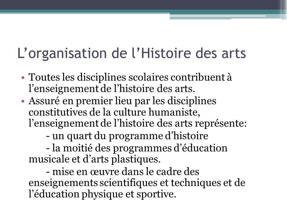 Lorganisation de lHistoire des arts Toutes les disciplines scolaires contribuent à lenseignement de lhistoire des arts. Assuré en premier lieu par les