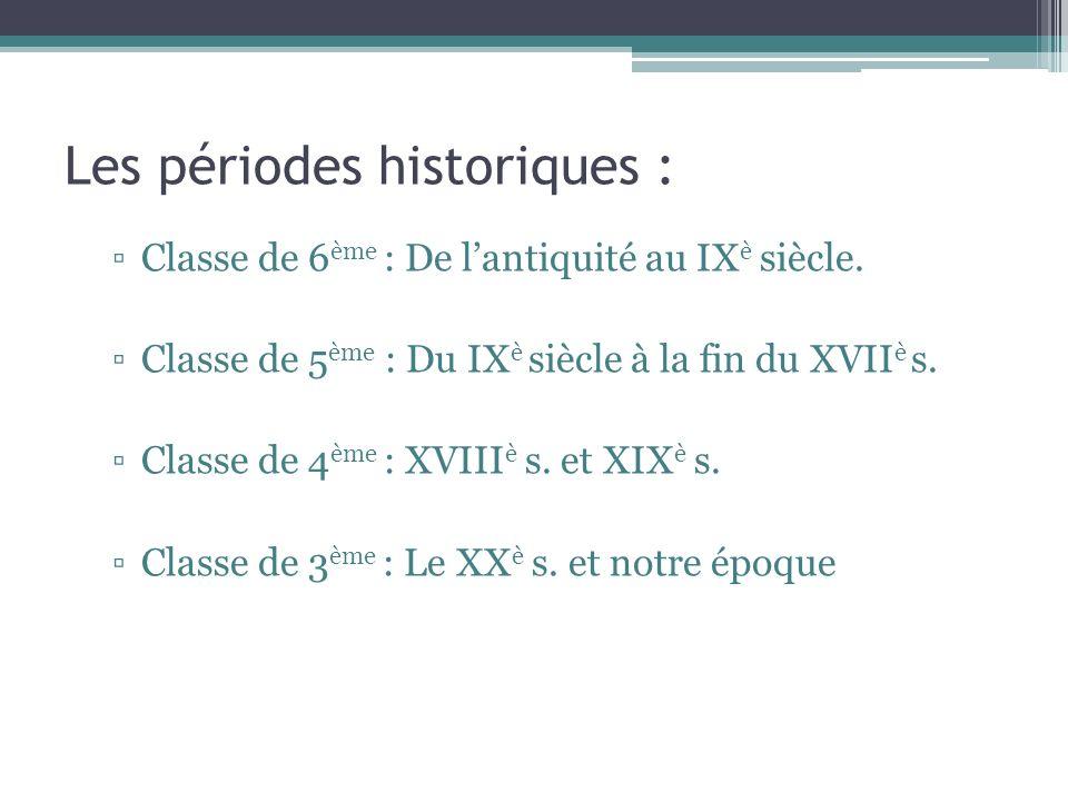 Les périodes historiques : Classe de 6 ème : De lantiquité au IX è siècle. Classe de 5 ème : Du IX è siècle à la fin du XVII è s. Classe de 4 ème : XV
