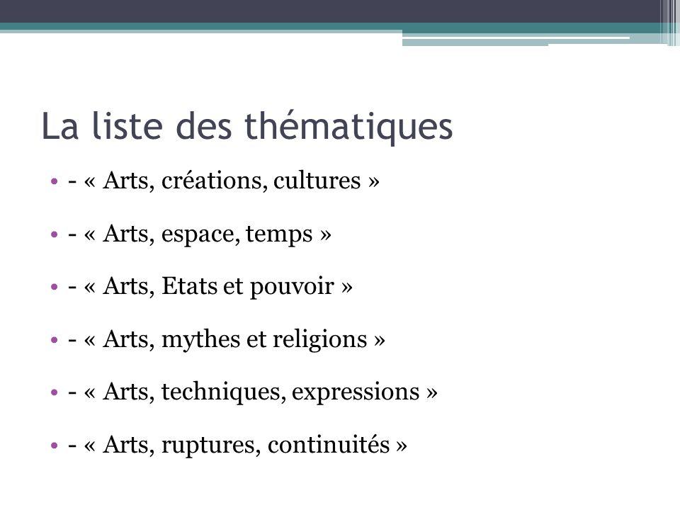 La liste des thématiques - « Arts, créations, cultures » - « Arts, espace, temps » - « Arts, Etats et pouvoir » - « Arts, mythes et religions » - « Ar