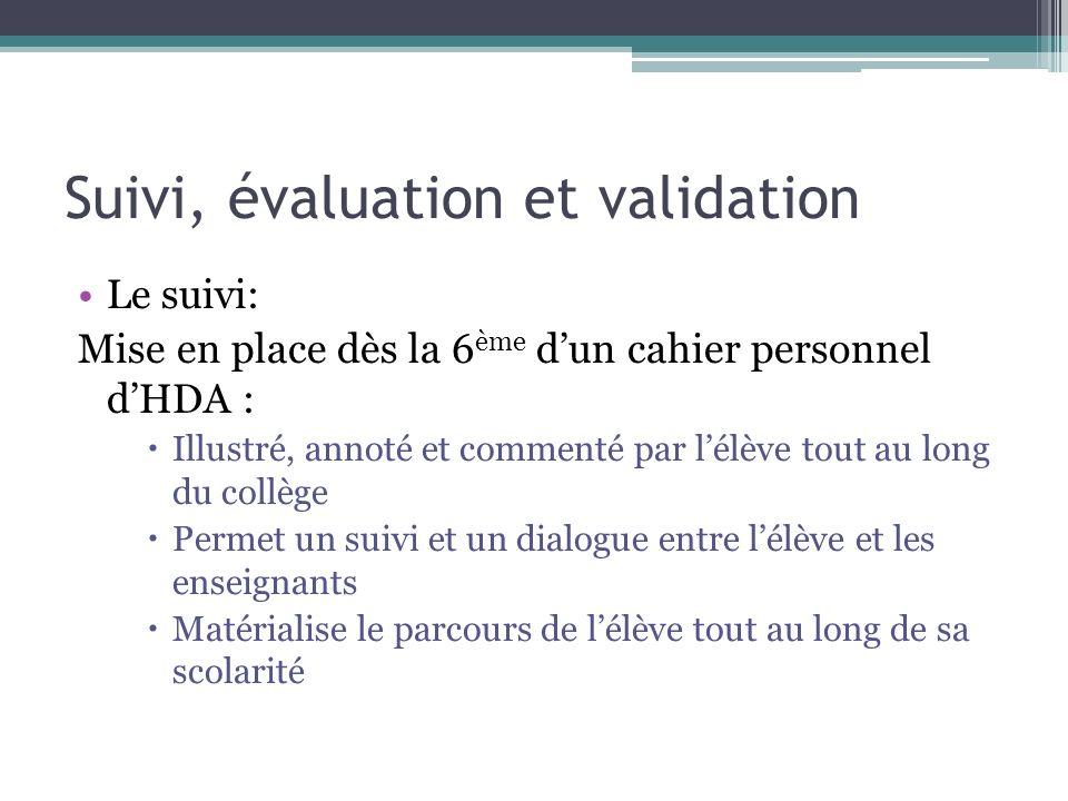 Suivi, évaluation et validation Le suivi: Mise en place dès la 6 ème dun cahier personnel dHDA : Illustré, annoté et commenté par lélève tout au long