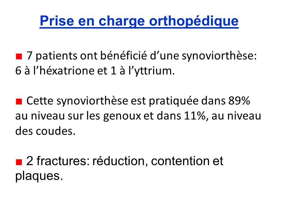Prise en charge orthopédique 7 patients ont bénéficié dune synoviorthèse: 6 à lhéxatrione et 1 à lyttrium.