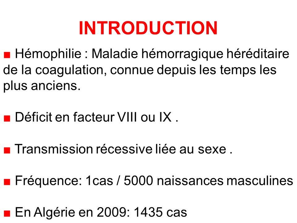 INTRODUCTION Hémophilie : Maladie hémorragique héréditaire de la coagulation, connue depuis les temps les plus anciens.