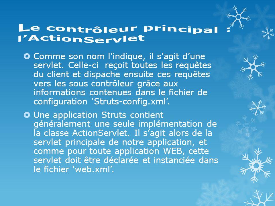 Déclarer la servlet principal dans Web.xml: action org.apache.struts.action.ActionServlet … action *.do …