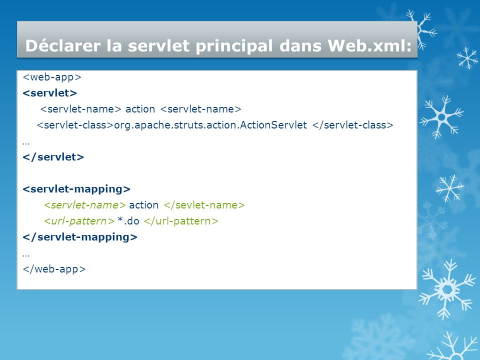 Déclarer la servlet principal dans Web.xml: action org.apache.struts.action.ActionServlet … action *.do …